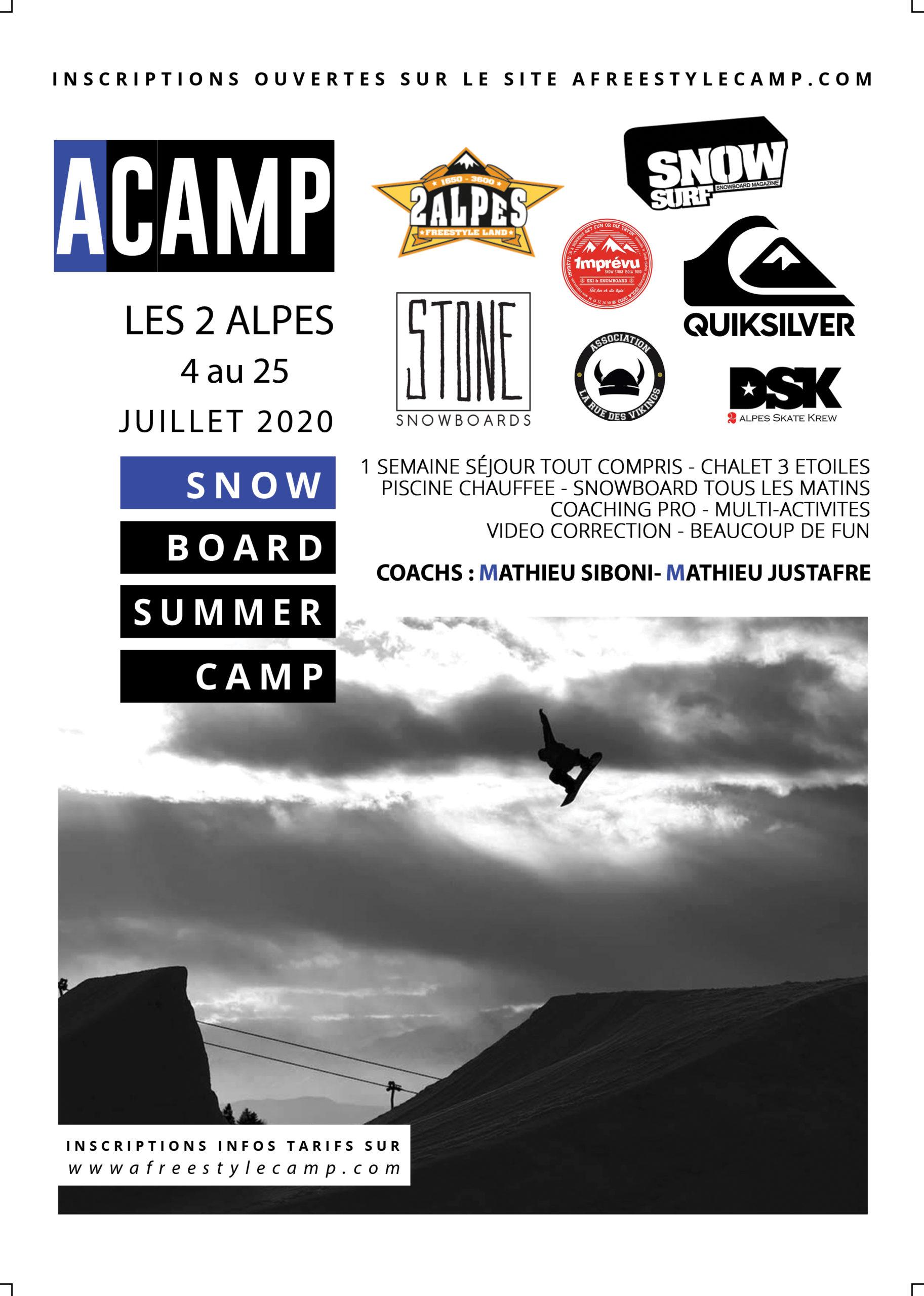 ACAMP SNOWBOARD du 4 au 25 juillet 2020